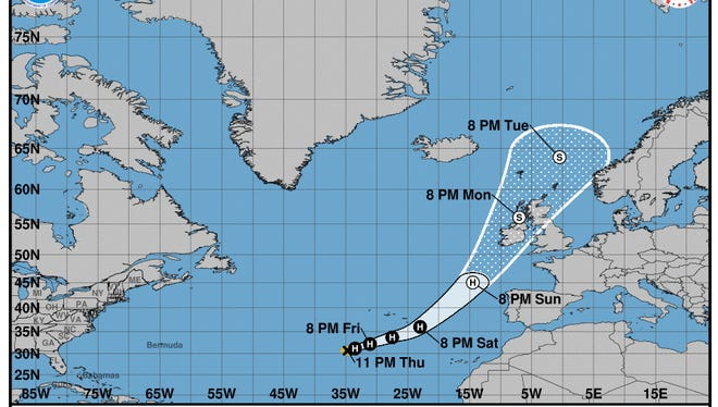Projected path of Hurricane Ophelia as of 11 p.m. Thursday, Oct. 12, 2017.