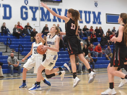 Zanesville's Madison Winland goes up for a shot against
