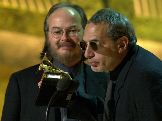 "Steely Dan founders Donald Fagen (right) and Walter Becker accept the Grammy for best pop vocal album for ""Two Against Nature"" at the 43rd annual Grammy Awards in 2001 at the Staples Center in Los Angeles."
