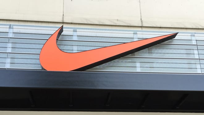 The Nike brand symbol adorns the company's new retail store at 1261 Woodward in downtown Detroit.