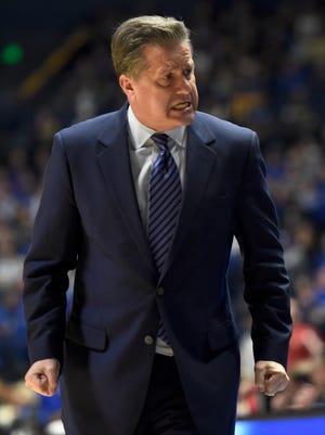 Kentucky head coach John Calipari doesn't look happy in the second half of the game in the 2017 SEC Men's Basketball Tournament at Bridgestone Arena Saturday, March 11, 2017 in Nashville, Tenn.