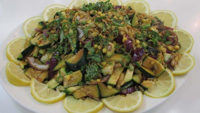 Orzo, Corn & Garden Vegetables Salad.