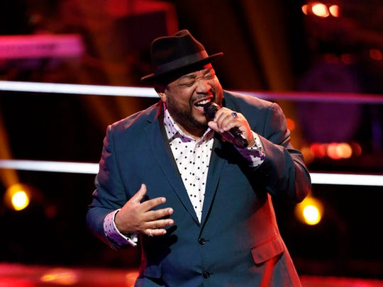 """Barry Minniefield of Palm Springs, shown here during the battle rounds on """"The Voice"""" was eliminated Monday."""