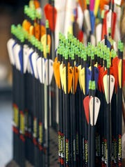 Arrows in the shop at Creekwood Archery in Clarkson.