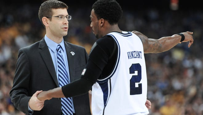 Butler Bulldogs head coach Brad Stevens talks with guard Shawn Vanzant in the second half during the NCAA Men's Final Four at Reliant Stadium in Houston, Texas on April 2, 2011. The Bulldogs won 70-62 over VCU. Vanzant is now an assistant coach for Lincoln Memorial, which plays Butler at 7 p.m. Saturday.