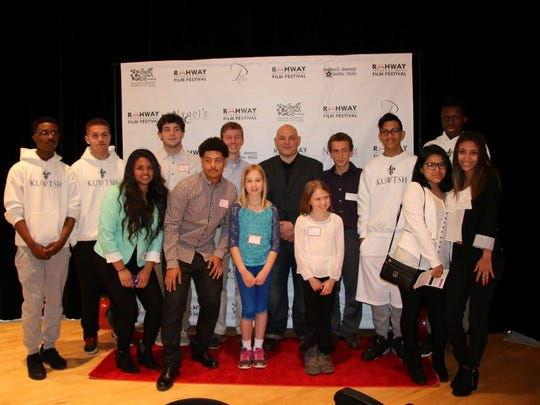 Student filmmakers who will screen at the fourth annual Rahway International Film Festival are pictured in May with the city's mayor, Samson Steinman.