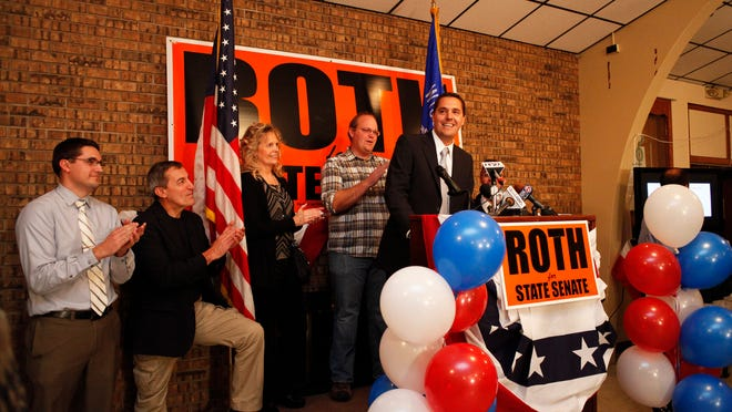 State Senate candidate Roger Roth, who defeated Democrat Penny Bernard Schaber, talks with supporters Tuesday at the American Legion Johnston-Blessman Post 38 in Appleton.