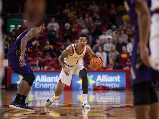 Iowa State's Nick Weiler-Babb brings the ball down