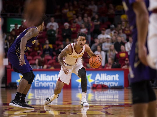 Iowa State's Nick Weiler-Babb brings the ball down the court during the Iowa State men's basketball game against Alcorn State on Sunday, Dec. 10, 2017, in Hilton Coliseum.