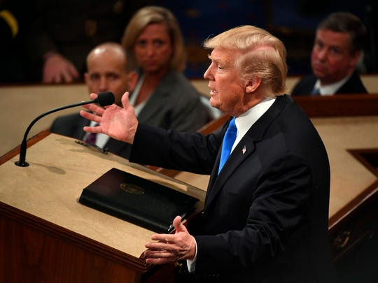 Jan. 30, 2018; Washington, DC, USA; President Donald Trump delivers the State of the Union address from the House chamber of the United States Capitol.