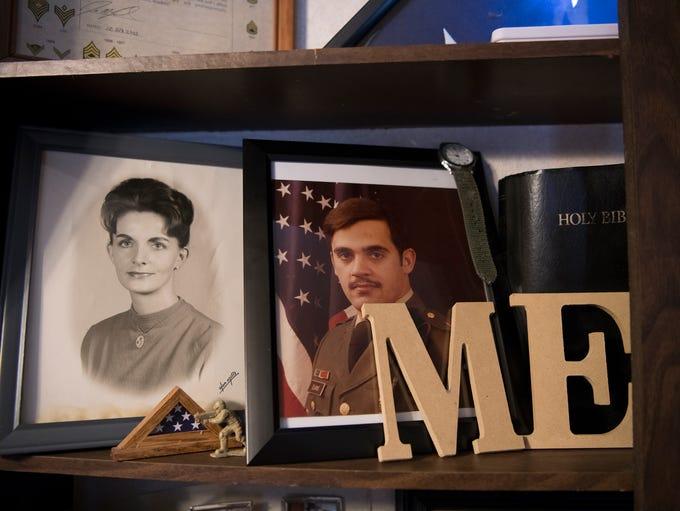 Leasher keeps a shelf of mementos that belonged to