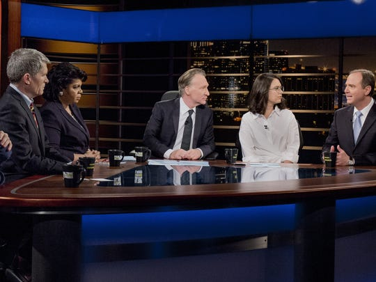 Bill Maher, center, holds court during the group-discussion segment of HBO's 'Real Time with Bill Maher.'