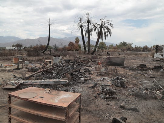 The Martinez Fire, which broke out on July 23, destroyed seven buildings, 13 vehicles and one RV when it burned through the Torres-Martinez Reservation, July 31, 2018.