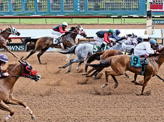 Cjs Rocksolid, the 6-5 choice, got rolling in the last half of the Brigand and got up in the final few strides to defeat Gonna Make You Royal by a neck.
