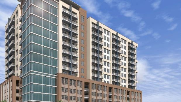 A rendering of the apartment building Alliance Residential plans for Eighth and Division.