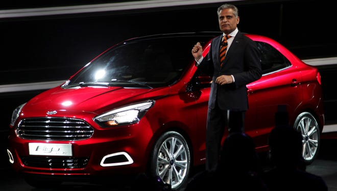 Ford India Engineering Vice President Kumar Galhotra speaks during the unveiling of the Ford Figo Concept car in New Delhi