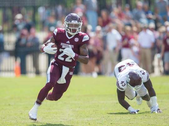 Mississippi State's Aeris Williams runs during the annual Maroon and White game at Davis Wade Stadium on the Campus of Mississippi State University.