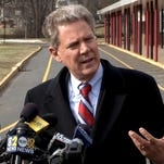 Rep. Frank Pallone talks to reporters outside Woodbridge High School in January 2014.  Thomas P. Costello/Staff Photographer