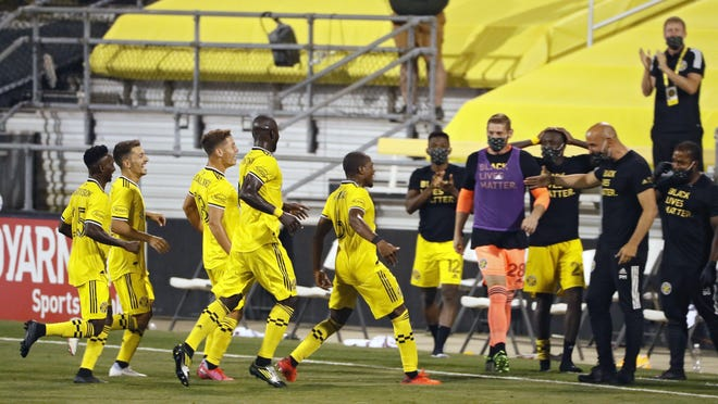 Columbus Crew SC midfielder Darlington Nagbe (6) celebrates his goal against Chicago Fire in the second half at MAPFRE Stadium in Columbus, Ohio on Aug. 20, 2020. The game was held without any fans in the stadium.