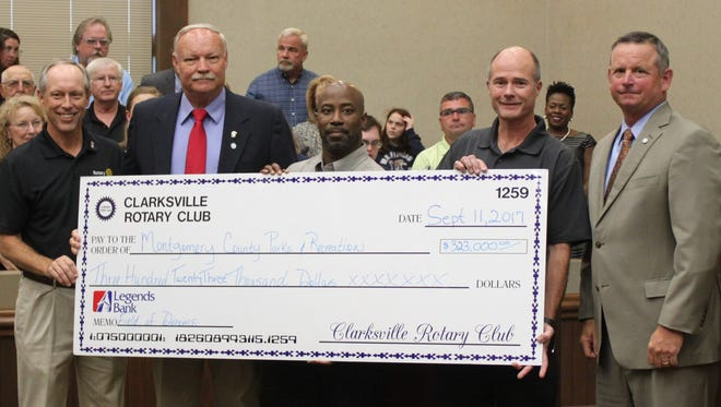Rotary Club presents check to Montgomery Parks and Recreation
