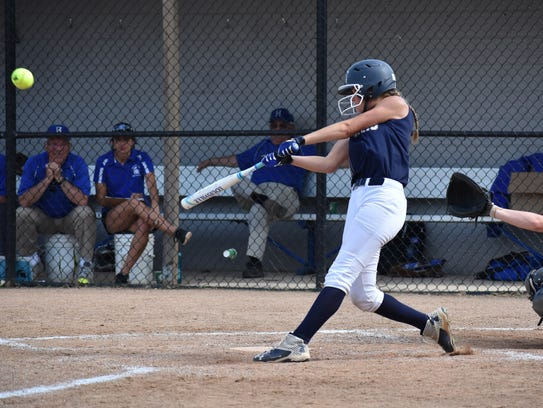 Chambersburg's Caeley Etter gets a hit during a PIAA