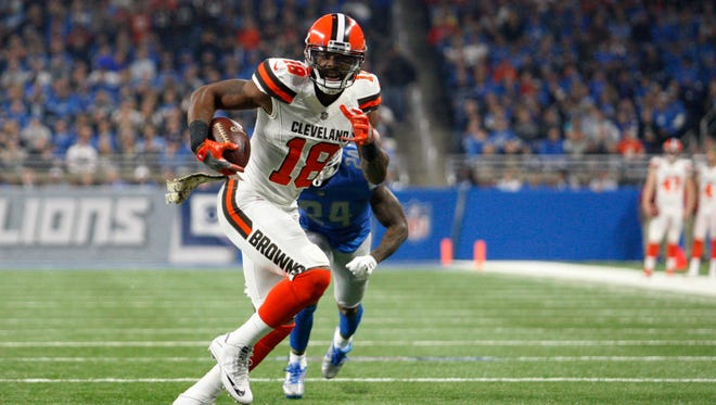 Cleveland Browns wide receiver Kenny Britt (18) runs after a catch for a touchdown during the first quarter against Detroit Lions cornerback Nevin Lawson (24) at Ford Field.