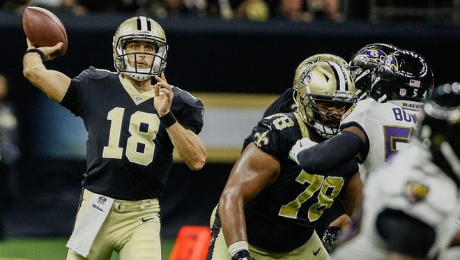 Former CSU quarterback Garrett Grayson, shown in an Aug. 31 preseason game playing for the New Orleans Saints, was signed to the Atlanta Falcons practice squad Tuesday as the team's No. 3 quarterback.
