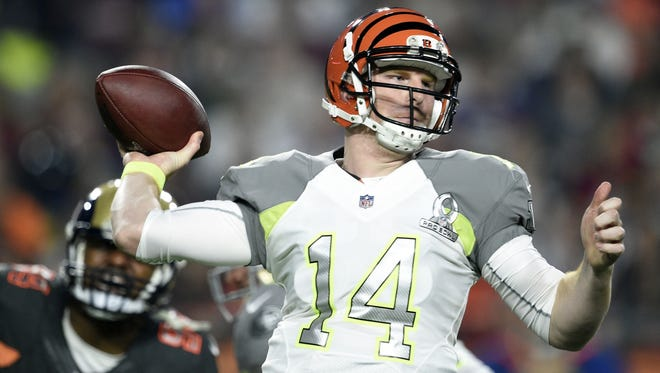Andy Dalton throws a pass at the Pro Bowl on Sunday in Glendale, Ariz.