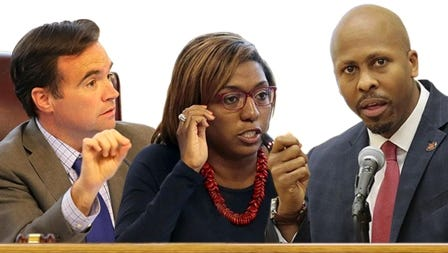 L to R: John Cranley, Yvette Simpson, Rob Richardson Jr. The three will face off in Cincinnati's May 2, 2017 mayoral primary.
