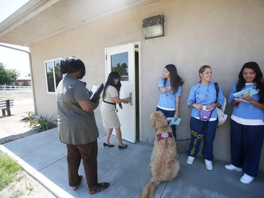 At far right, Ashley, 25, Susan, 27 and Nicole, 33, talk about their recent achievement of graduating from Substance Abuse Treatment program at the California Institute for Women in Corona in August of 2015.