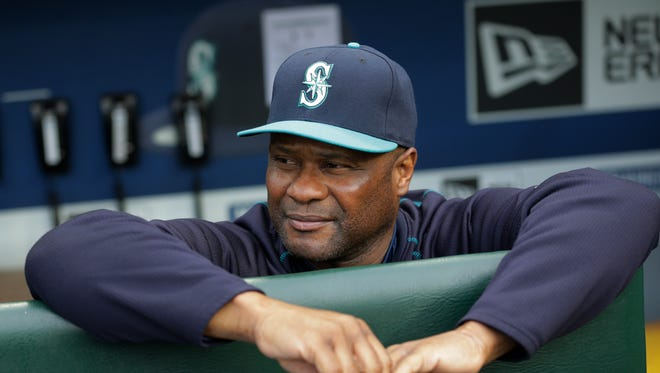In this May 15, 2015, file photo, Seattle Mariners' Lloyd McClendon leans on the dugout rail before a baseball game against the Boston Red Sox in Seattle.