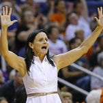 Phoenix Mercury coach Sandy Brondello yells to her team as  they face the Washington Mystics during the first half of their WNBA game Sunday, May 29, 2016, in Phoenix.