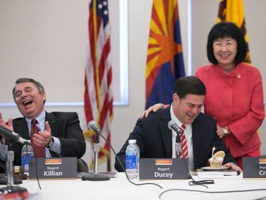 Arizona Board of Regents member Mark Killian and Arizona Gov. Doug Ducey