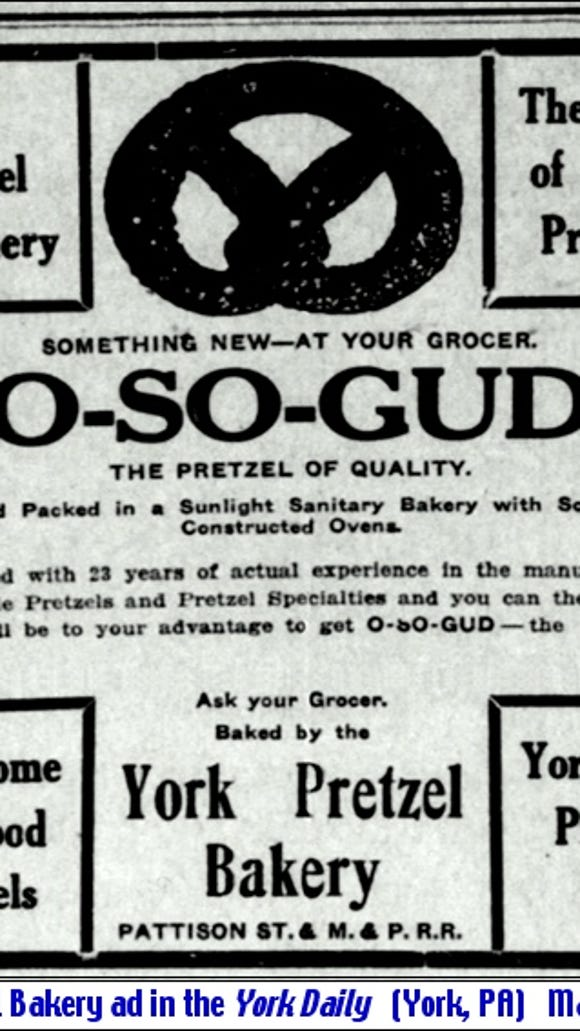 York Pretzel Bakery ad in the York Daily (York, PA) March 6, 1915