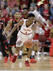 Indiana's Aljami Durham (1) in action during the first half of an NCAA college basketball game against Arkansas State, Wednesday, Nov. 22, 2017, in Bloomington, Ind. (AP Photo/Darron Cummings)
