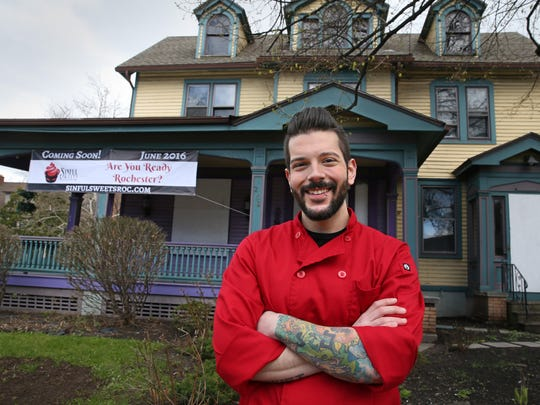 Owner Ryan Swift outside Sinful Sweets, located at