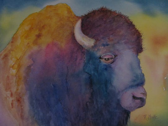 "Menke's work frequently features Western iconography, especially the American bison, seen here in ""A Lot of Bull""."