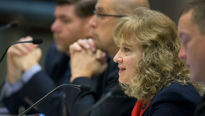 Glenda Ritz, Superintendent of Public Instruction for Indiana, speaks during a State Board of Education meeting on Feb. 13, 2015, about the ISTEP test, and changes to it. New legislation that awaits Gov. Mike Pence's signature, would give him eight appointees to the board.