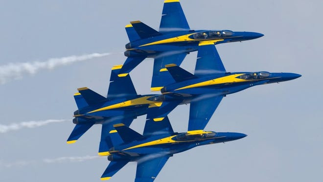 Navy Flight Demonstration Squadron, the Blue Angels, diamond formation flies the Diamond 360 maneuver at the Pensacola Home Show at Naval Air Station Pensacola. (FILE PHOTO)