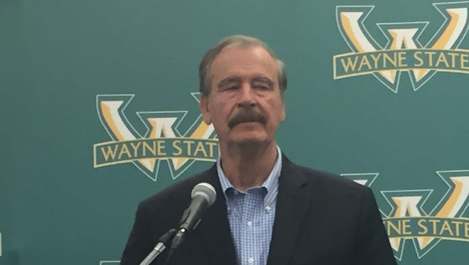 Vicente Fox, former president of Mexico, speaks to the media at Wayne State University on Monday, Sept. 18, 2017.