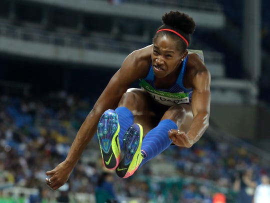 United States' Janay Deloach competes in the women's