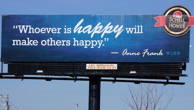 Schell Brothers home builders billboard near Rehoboth Beach, Del., featuring a quote from Anne Frank, who died in a Nazi concentration camp.