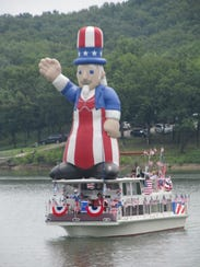 A 27-foot Uncle Sam was the feature of the annual Stockton