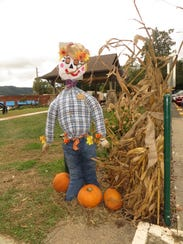 The scarecrow designed by Mrs. Cindy Leatherwood's