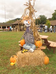 The scarecrow designed by the kindergarten classes.