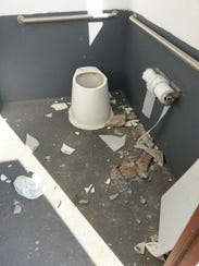 Inside of the damaged latrine at Widow Coulee FAS on