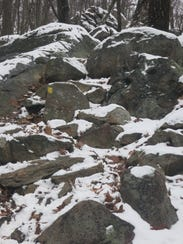 The Yellow Trail at Pyramid Mountain climbs a rocky,