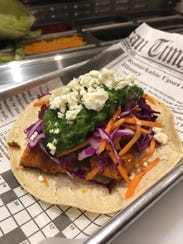 One of the gourmet tacos at A Taco Affair in Little