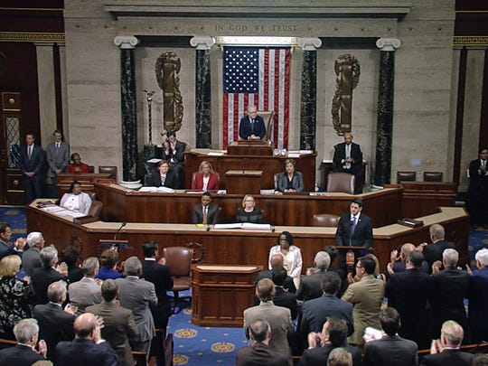 In this image from House Television video, House Speaker