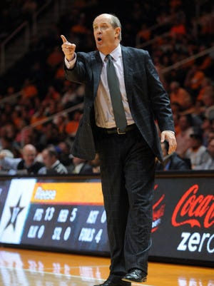 Vanderbilt Commodores head coach Kevin Stallings reacts during the game against the Tennessee Volunteers at Thompson-Boling Arena. Vanderbilt won 73 to 65.